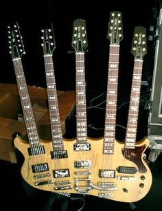 Rick Nielson of Cheaptrick, 5-neck Korina Hamer guitar...