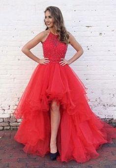 red prom dress, hi-lo prom dress, prom dress,#prom #promdress #dress #eveningdress #evening #fashion #love #shopping #art #dress #women #mermaid #SEXY #SexyGirl #PromDresses