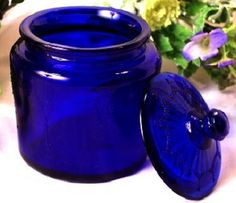 Cobalt Blue Glass Jar - delicate glass jar has an embossed design. Glass Cookie Jars, Glass Jars, Cobalt Blue Kitchens, Bleu Cobalt, Im Blue, Deep Blue, Blue Dishes, Cobalt Glass, Glass Canisters