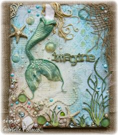 Mixed Media Canvas tutorial by Gabrielle Pollacco using  Shimmerz Paints, Dusty Attic Chipboard and Polymer Clay.