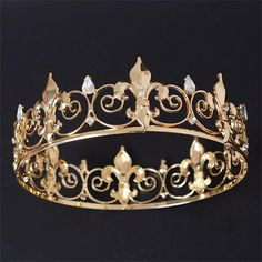FUMUD Vintage Full Circle Gold Prom Accessories King quen Rhinestone Crown Round Crown Wedding Hair Accessories Tiara Headpiece Jewelry *** Click on the image for additional details.