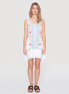 Johnny Was Clothing JWLA embroidered Odessa Linen Tie Back Dress in White