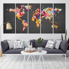 20647 - Large Wall Art World Map Canvas Print- Watercolor World Map Travel Canvas Print- Modern XXL Large Wall Art World Map Canvas Print World Map Travel, World Map Art, World Map Canvas, Large Canvas Wall Art, Extra Large Wall Art, Canvas Prints, Smash Book, Water Color World Map, Kids Room Paint