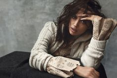 Irina Shayk wwears a mix of lingerie styles and cozy knitwear Pose in Harper's Bazaar Spain Magazine December 2015 issue