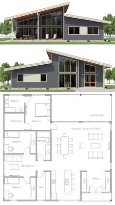 Home Plan House Plans Floor Plans Architecture Adhouseplans Homeplans Floorplans Home Plan Hauspläne Grundrisse Architektur Adhouseplans Homeplans Grundrisse - Besondere Tag Ideen Sims House Plans, Open House Plans, House Plans One Story, Dream House Plans, Little House Plans, Modern House Floor Plans, One Story Houses, Modern Home Plans, Floor Plans 2 Story