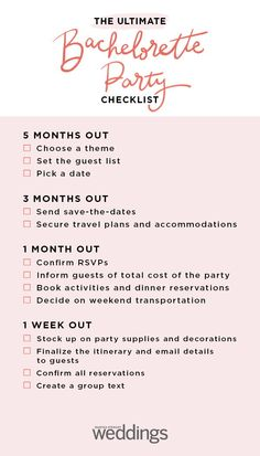 The ultimate bachelorette party planning timeline ideas wedding checklist printable bridal shower games for 2019 Bachelorette Checklist, Bridal Shower Checklist, Party Checklist, Wedding Planning Checklist, Bachelorette Weekend, Party Planning, Wedding Checklists, Bachelorette Party Invitations, Pre Wedding Party