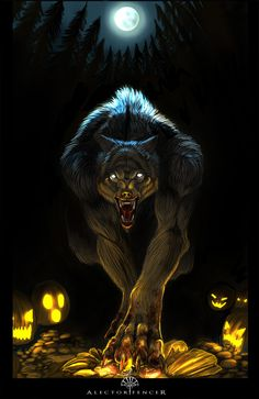 Trick or treat by alectorfencer o dam Fantasy Creatures, Mythical Creatures, Dark Fantasy, Fantasy Art, Werewolf Art, Werewolf Games, Vampires And Werewolves, Classic Monsters, Creatures Of The Night
