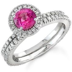 Pink sapphire and diamond bridal set.... LOVE!!!