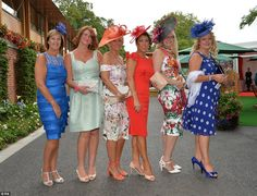 Lovely: A group of friends show off their elegant ensembles as they arrive to enjoy the racing action at York Friends Show, Ladies Day, Moschino, Nice Dresses, Beautiful Women, Action, Racing, Fantasy, York