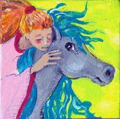 Original Mini Portrait  Pen and Acrylic on Canvas Horse Whisperer Fantasy OOAK