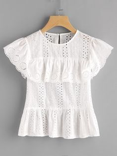 To find out about the Ruffle Cap Sleeve Buttoned Keyhole Eyelet Embroidered Top at SHEIN, part of our latest Blouses ready to shop online today! White Outfits, Girl Outfits, Casual Outfits, Fashion Outfits, Blouse Styles, Blouse Designs, Mode Top, Blouse Dress, Lace Tops