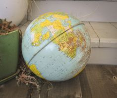 Vintage 10 inch Metal World Globe ..Chein & company by drowsySwords on Etsy