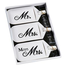 Mr. and Mrs. Luggage Tags, White