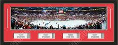 One framed large Detroit Red Wings stadium panoramic with openings for 1, 2, 3, or 4 ticket stubs*, double matted in team colors to 39 x 13.5 inches.  The lines show the bottom mat color. $189.99  @ ArtandMore.com