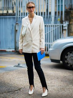 How chic does this white blazer look with leggings and a fresh white heel?