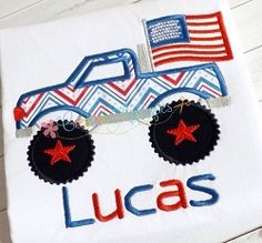 Monster Truck with Flag Applique - 4 Sizes!   4th of July   Machine Embroidery Designs   SWAKembroidery.com Creative Appliques