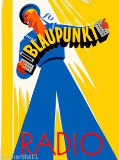 Blaupunkt-Radio-Germany-German-European-Vintage-Travel-Advertisement-Poster