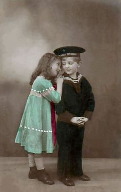 Colorized photo of children, boy in a sailor suit