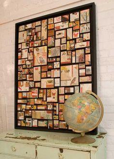 composition de cartes postales et photos encadrée