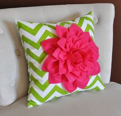 Hot Pink Dahlia on Green and White Zigzag Pillow by bedbuggs