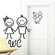 "Wandtattoo Loft - Tatuaje de Pared ""Pegatina de WC"" Hombre y Mujer en Negro - Pegatina Para Puerta Cuarto De Baño Cartel de Puerta Adhesivo"