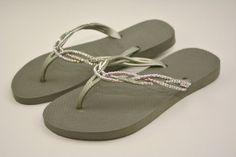 4e4f612d5 Items similar to Swarovski Crystal Havaianas Flip Flops in Silver, Aurora  Borealis Crystals, beach wedding shoes on Etsy