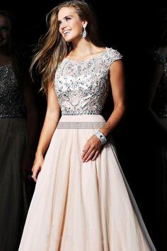 Natural Waist Chiffon Appliques Scoop Cap Sleeve Beaded Long A-line Prom Dress - Shedressing.com