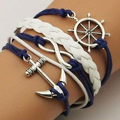 Anchor And Rudder Leather Bracelet