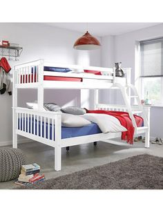 Novaro Trio Triple Sleeper White Solid Pine Bunk Bed Double 3ft Single Beds And