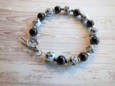 Toggle Bracelet Black White Ceramic Black Glass Beads Bead