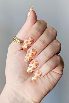 Fancy Nail Art, Fancy Nails, Diy Nails, Pretty Nails, Manicure, Fruit Nail Designs, Orange Nail Designs, Acrylic Nail Designs, Acrylic Nails