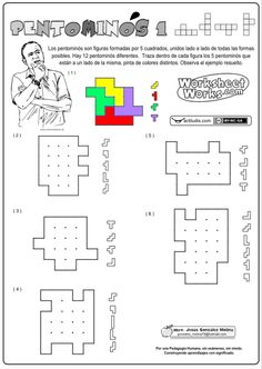 Los pentominós son geométricas planas formadas por cinco cuadrados, unidos lado a lado de todas las formas posibles. En total contamos con 12 modelos diferentes. Se encontrar cinco pentominós dentro de una rejilla dada, trazando las líneas que los separan. Se trata de trabajar la geometría a la vez que …