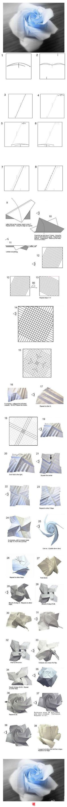 Rose origami - How to fold a rose. Things to do Origami And Quilling, Origami And Kirigami, Origami Rose, Origami Paper Art, Origami Folding, Oragami, Paper Folding, Diy Paper, Paper Crafts