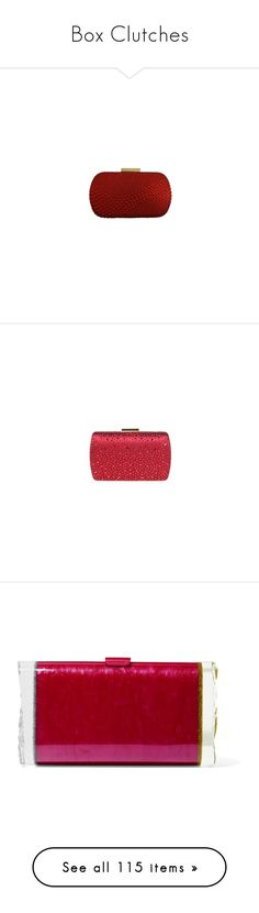 """Box Clutches"" by romaboots-1 ❤ liked on Polyvore featuring bags, handbags, clutches, sequin purse, evening purses, crystal clutches, bridal clutches, red purse, crystal purse and bridal purse"