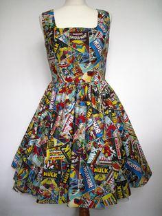 Marvel Comics Dress Handmade To Order Alternative Rockabilly Kitsch Tea Skater Spider Man Iron Man Thor Captain America Hulk Wolverine