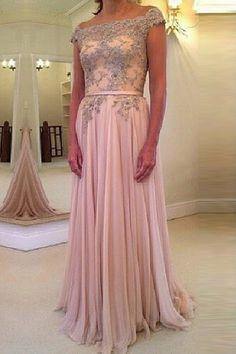 Surpassingly A-line/Princess Off-the-Shoulder Beaded Chiffon Evening Dresses