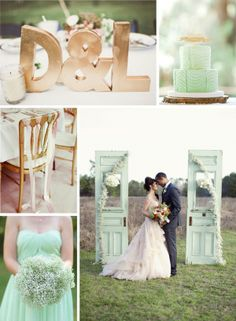 mint and gold wedding | mint and gold centerpiece | mint ribbon garland | mint wedding dress ...