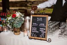 Hand-lettered chalkboard bar sign in golden frame #cedarwoodweddings 11.18.17 :: Erin + Phillip | Cedarwood Weddings