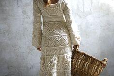 Tricotés à la main de fil écru robe robe de mariée sur par Muza