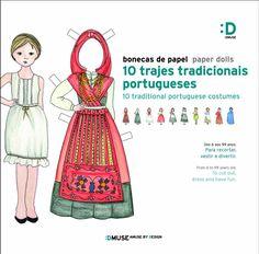 Bonecas de papel | 10 trajes tradicionais Learn Portuguese, Portuguese Culture, Azores, Paper Toys, Traditional Outfits, Scale Models, History, Kids, Vintage