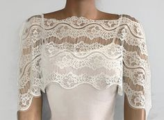 Cream Lace Bridal Shrug Capelet Off Shoulder by MammaMiaBridal