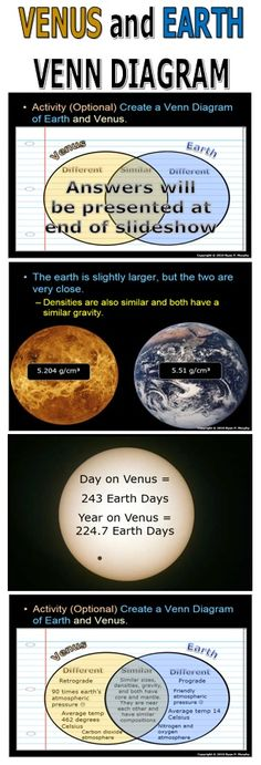 I love using the Venn Diagram to compare Earth and Venus.  Two extremes that also share similarities.  Perfect for the Venn Diagram. Visuals, notes, video links, and much more are provided in this Inner Planetary Lesson Bundle. -Enjoy! Science from Murf