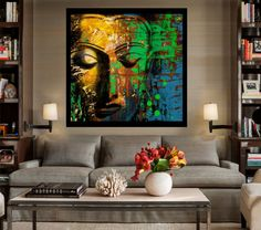 Large Hand Painted Square Abstract Buddha Acrylic Painting on Buddha Wall Art, Buddha Decor, Acrylic Painting Canvas, Painting Frames, Artist Canvas, Budha Painting, Cool Abstract Art, Disney Drawings Sketches, Artwork Display