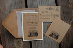 Fully customized vintage & rustic wedding invitations by MossyDog. $3.00 USD, via Etsy.
