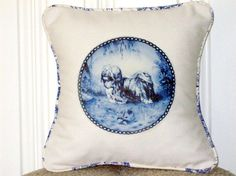 """shabby chic, feed sack, french country, delft Lhasa Apso graphic with toile welting 14"""" x 14"""" pillow sham. by kreativbyerika on Etsy https://www.etsy.com/listing/99731424/shabby-chic-feed-sack-french-country"""