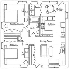 - Dining area becomes a computer area - second bedroom becomes a scrapbook or shared office room - small guest house plans under 900 sq feet Guest House Plans, Cabin Plans, Small House Plans, House Floor Plans, The Plan, How To Plan, 900 Sq Ft House, Small Tiny House, Small Homes