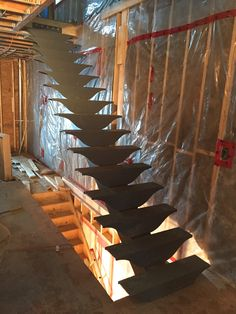 Main floor stairs installed on site: custom fabricated in Quebec.