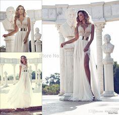 2014 Julie Vino vestidos de casamento frisado Crystal Fashion profundo decote em v mangas A Line Side Slit branco Chiffon vestidos de noiva KM116 em Vestidos de noiva de Casamentos e Eventos no AliExpress.com | Alibaba Group