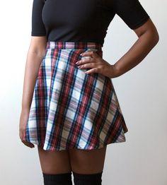 Ultra Plush High Waist Tartan Skater Skirt (Made to Order)