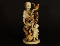 Okimono  Alte Beinschnitzerei signiert  antique Japan  Meiji period
